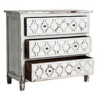 Hazel 100cm Distressed Ready Assembled White Chest Of Drawers